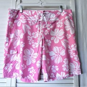 OP soft pink white polyester beach shorts L